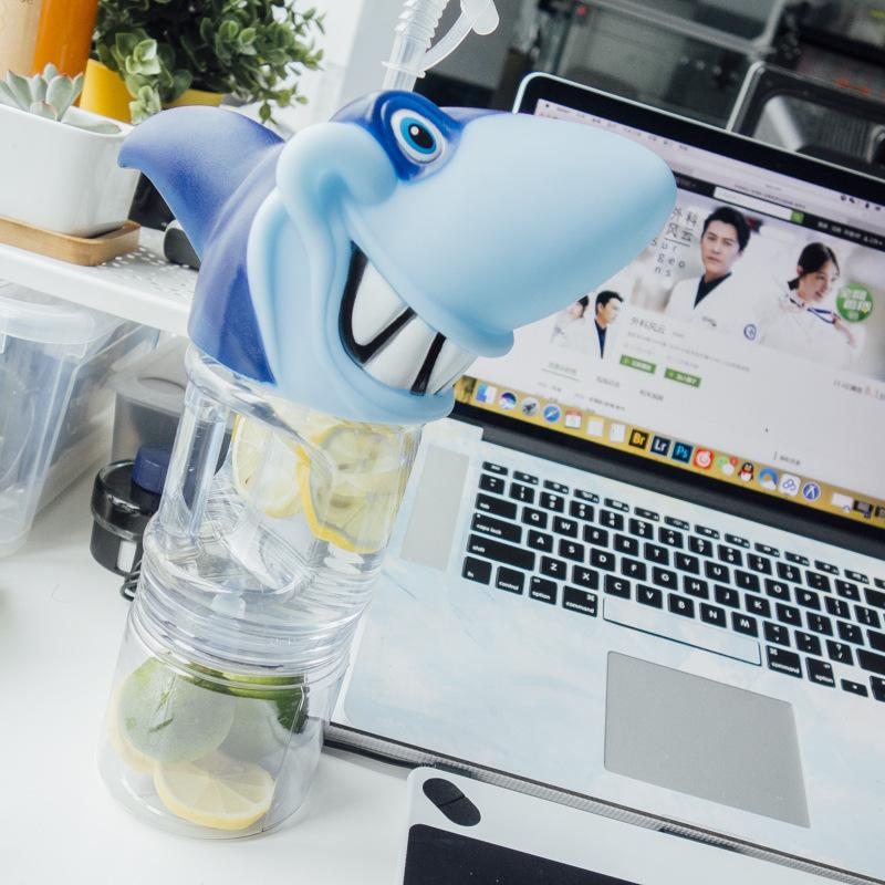 KCASA KC-SH01 Creative Shark Shape Transparent Water Drinking Straw Plastic Bottle Tumbler Kettle