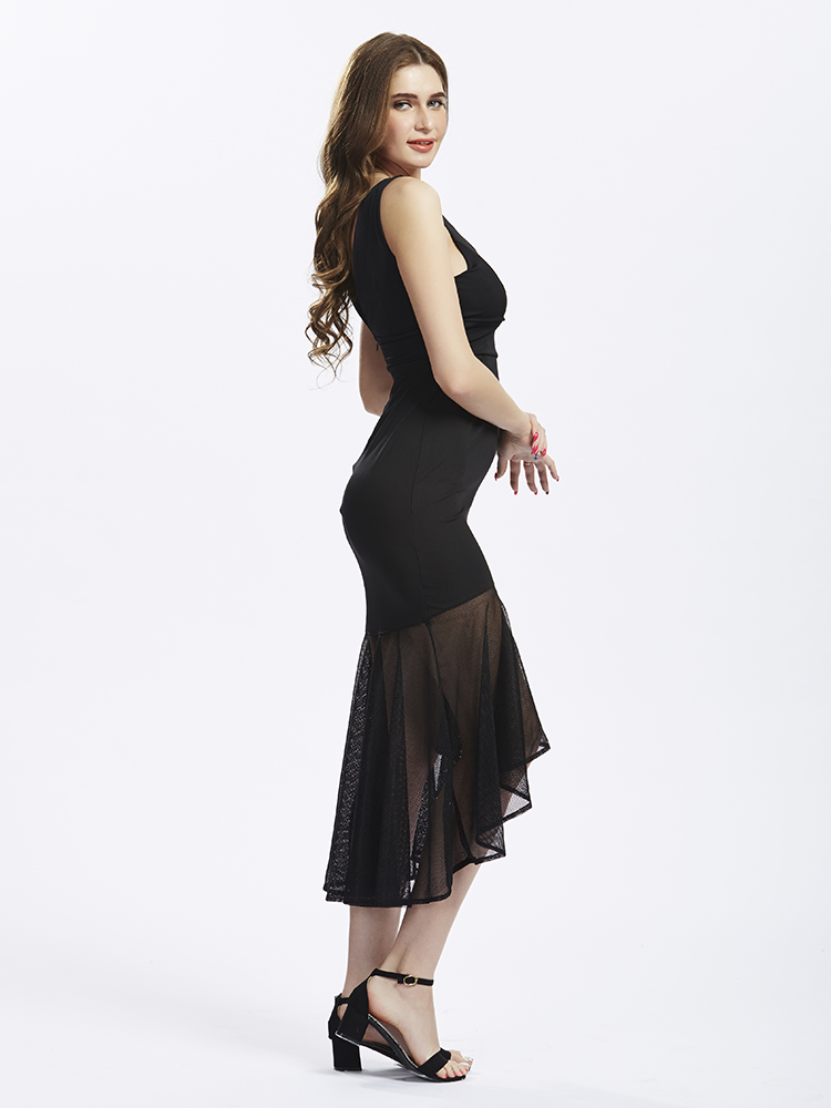 Elegant Women Backless V-neck Yarn Fishtail Stitching Party Dress