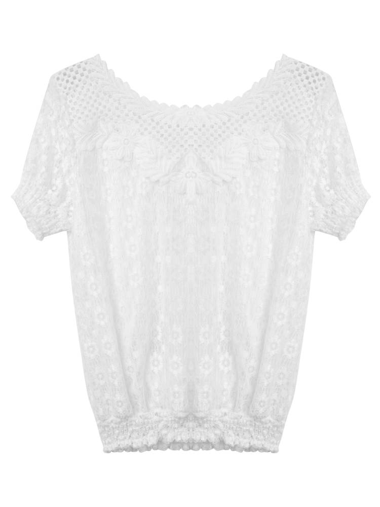 Women Hollow Out Lace Chiffon Short Sleeve Blouse