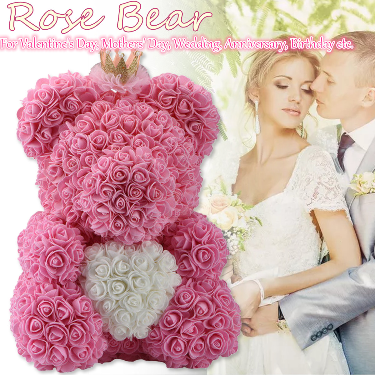 532959155 Teddy Bear Rose Bear 38CM Romantic Red and Pink Valentine's Day Wedding  Gifts Decorations COD