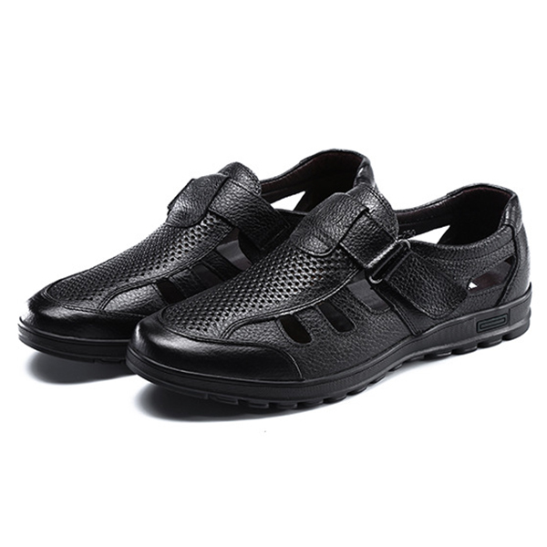 Men Leather Sandals Shoes Outdoor Casual Flats