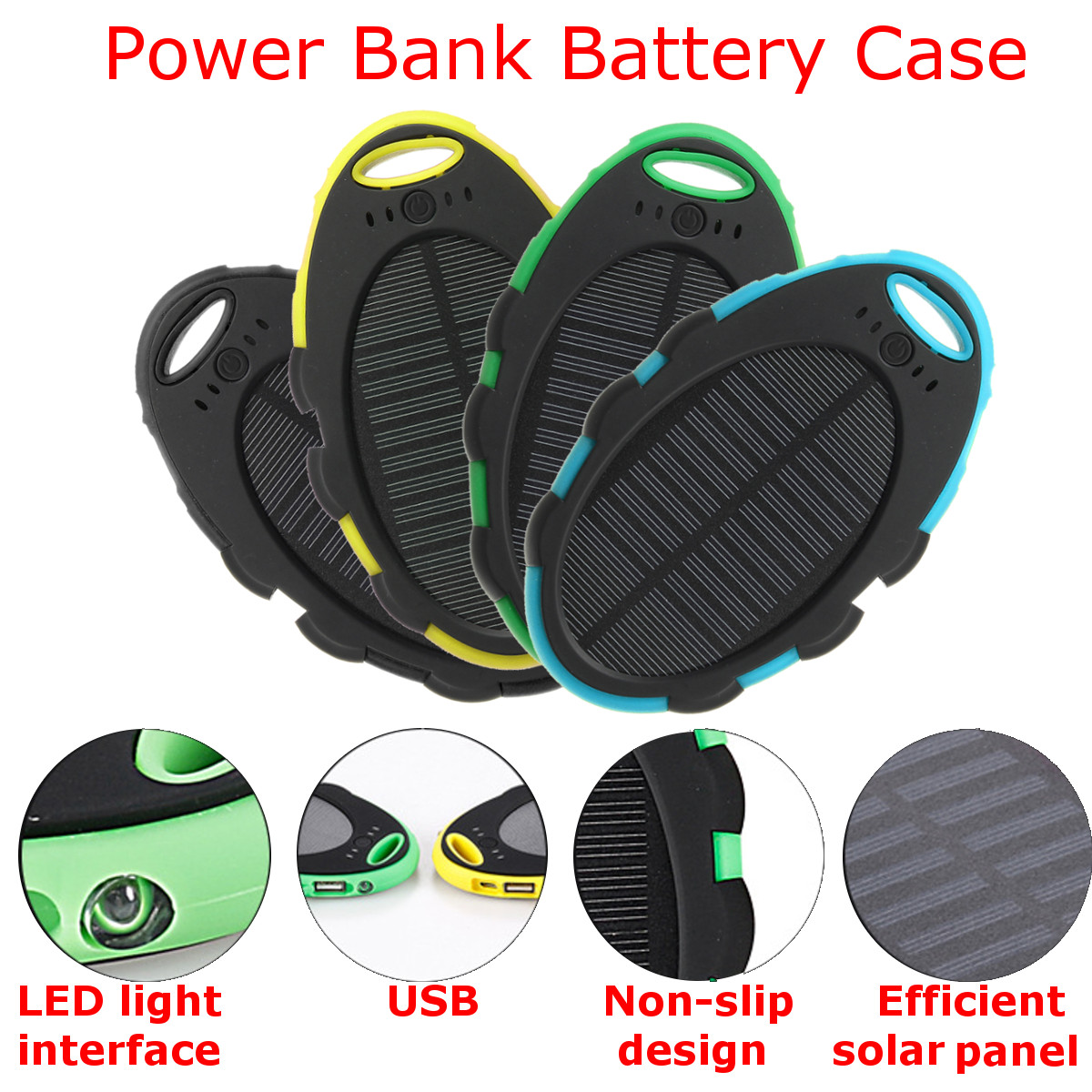 Diy 5000mAh Dual USB Backup Portable Charger Solar Power Bank Case for Mobile Phone