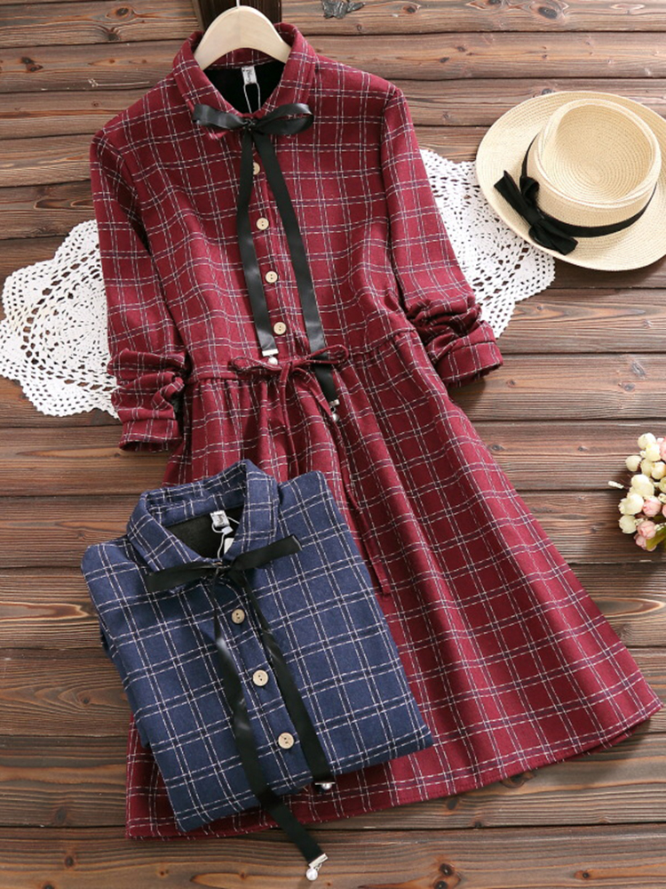 Mori Girl Plaid Long Sleeve Bowknot Dress
