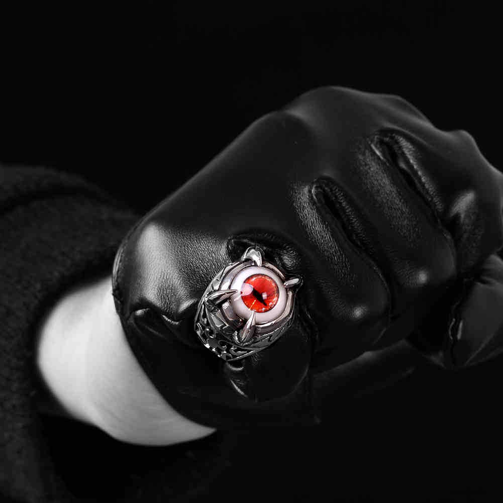 Titanium Silver Devil Eye Punk Rock Men Finger Biker Ring Jewelry
