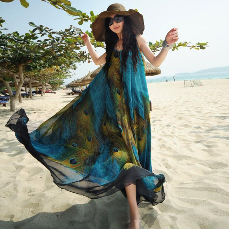 Women Peacock Print Chiffon Bohemian Maxi Dress