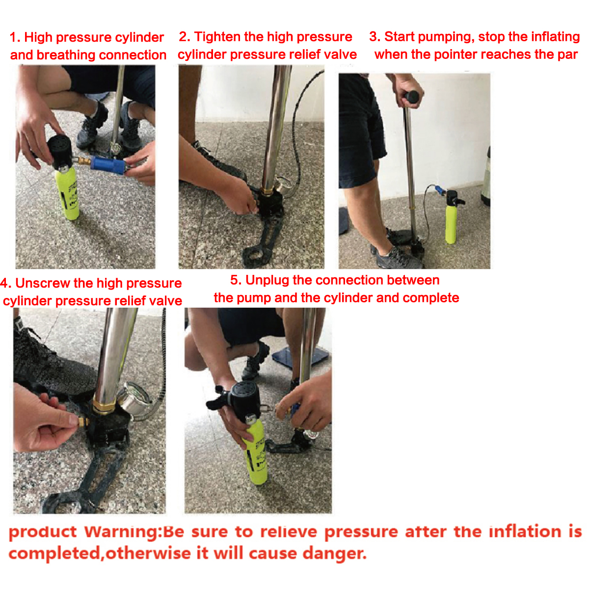 Diving Equipment Mini Hand Operated Pump For Oxygen Tank