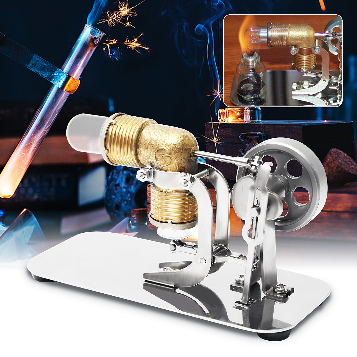 Mini Hot Air Stirling Engine Motor Model Educational Toy Kits Electricity Gift