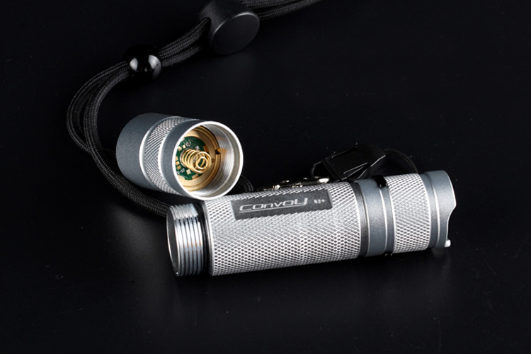 Convoy S2+ Silver Xp-l Hi 7135x8 3/5modes Rubber Button EDC LED Flashlight 18650