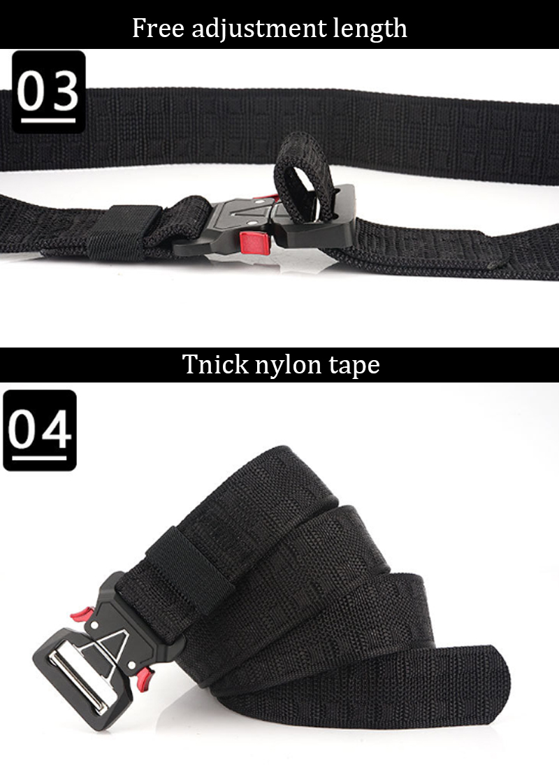 125cm ENNIU MH04 3.8cm Nylon Waist Belts Zinc Alloy Tactical Belt Quick Release Inserting Buckle
