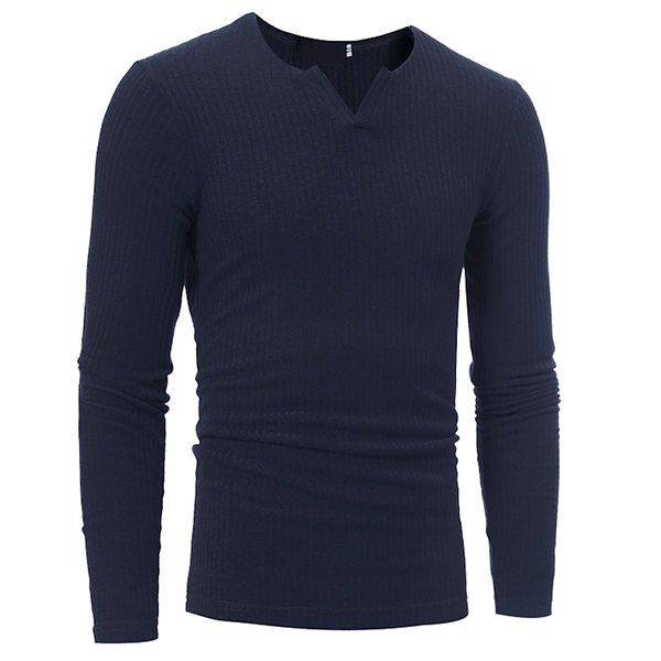 Autumn Winter Men's Leisure V-neck Stripe T-shirts Brief Style Knitted Long Sleeve Tops