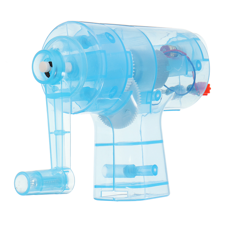 Handheld Manual Electricity DC Crank Generator Model Miniature Light Blub Kit Science Experiment Kid