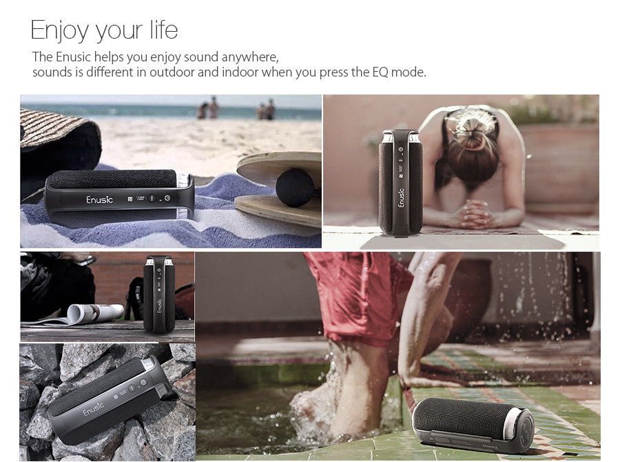 EIVOTOR Soundcup bluetooth Outdoor Speaker With EQ Mode Waterproof NFC 20w Output UP To 8H Playtime