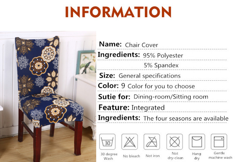 Honana WX-915 Removable Fashion Dining Chair Cover Protector Seat Covering Hotel Ceremony Dining Room Decor