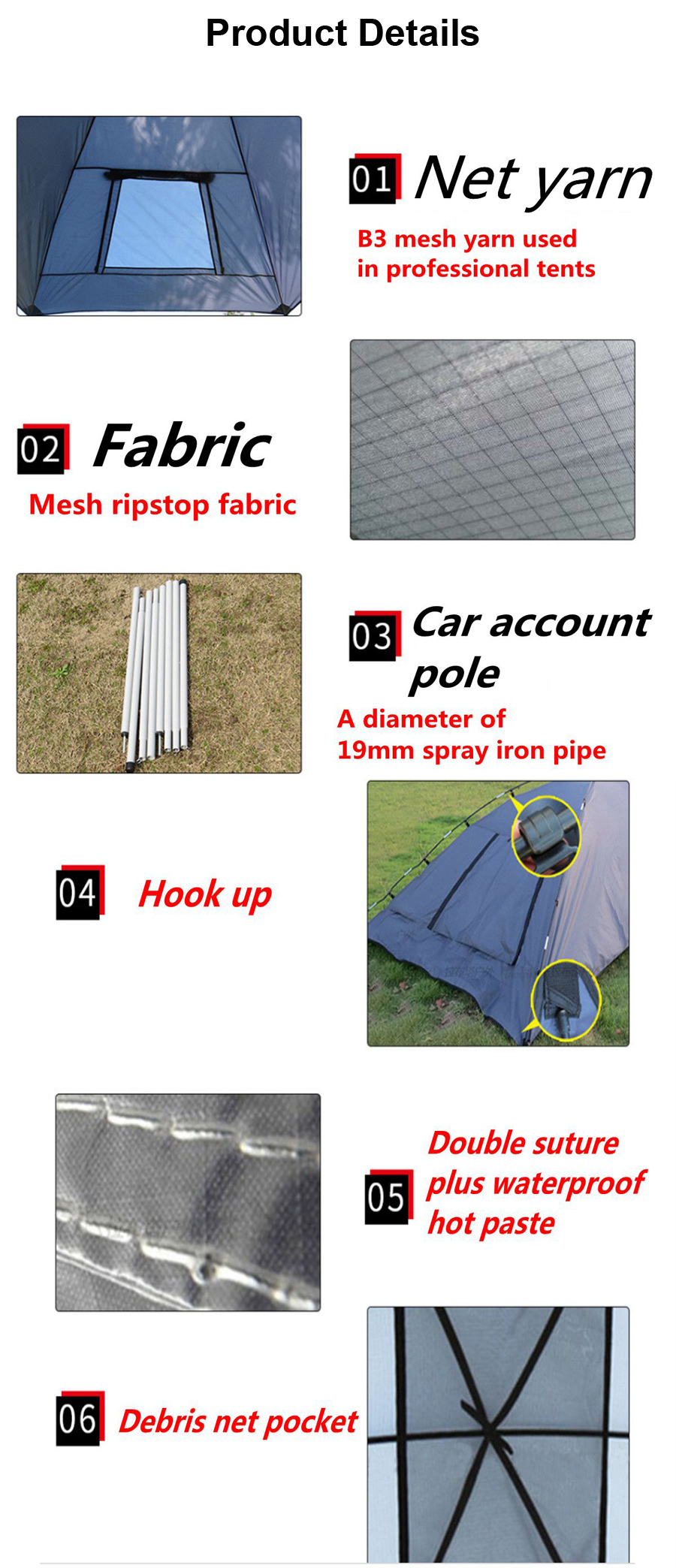 IPRee® 3-4 People Outdoor SUV Shelter Truck Car Tent Trailer Awning Portable Camping Canopy