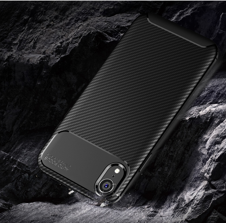 Bakeey Protective Case For iPhone XR Slim Carbon Fiber Fingerprint Resistant Soft TPU Back Cover