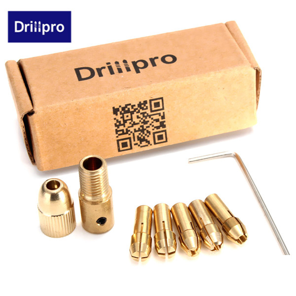 Drillpro 8pcs 0.5-3mm Small Electric Drill Bit Collet Micro Twist Drill Chuck Set with Allen wrench