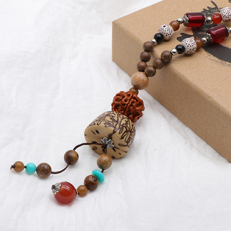 Unisex Ethnic Tibetan Beaded Necklace Wood Geometric Co