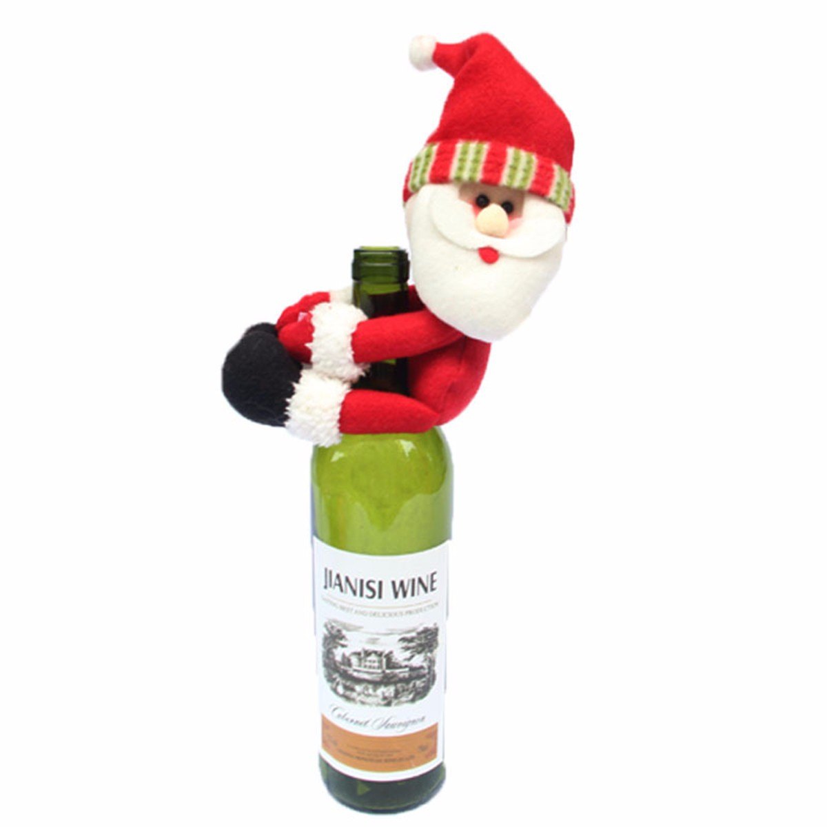 Christmas Santa Snowman Elf Wine Bottle Cover Ornament Xmas Party Table Decor