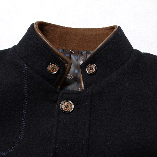 Mens Winter Casual Business Stand Collar Wool Single Breasted Trench Coat