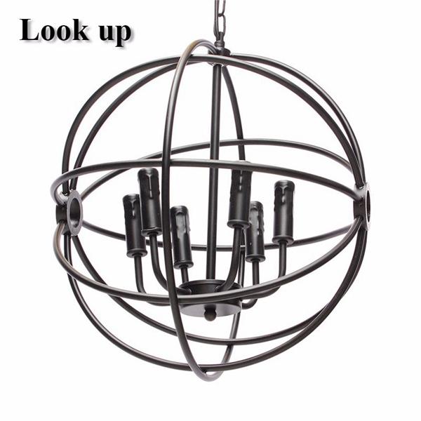 Modern Industrial Chandelier 6 Light Hanging Fixture Round Ball Cage Pendant Light