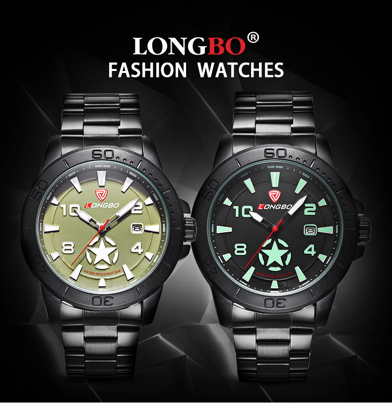 LONGBO 80217 Star Calendar Genuine Leather Strap Men Watches