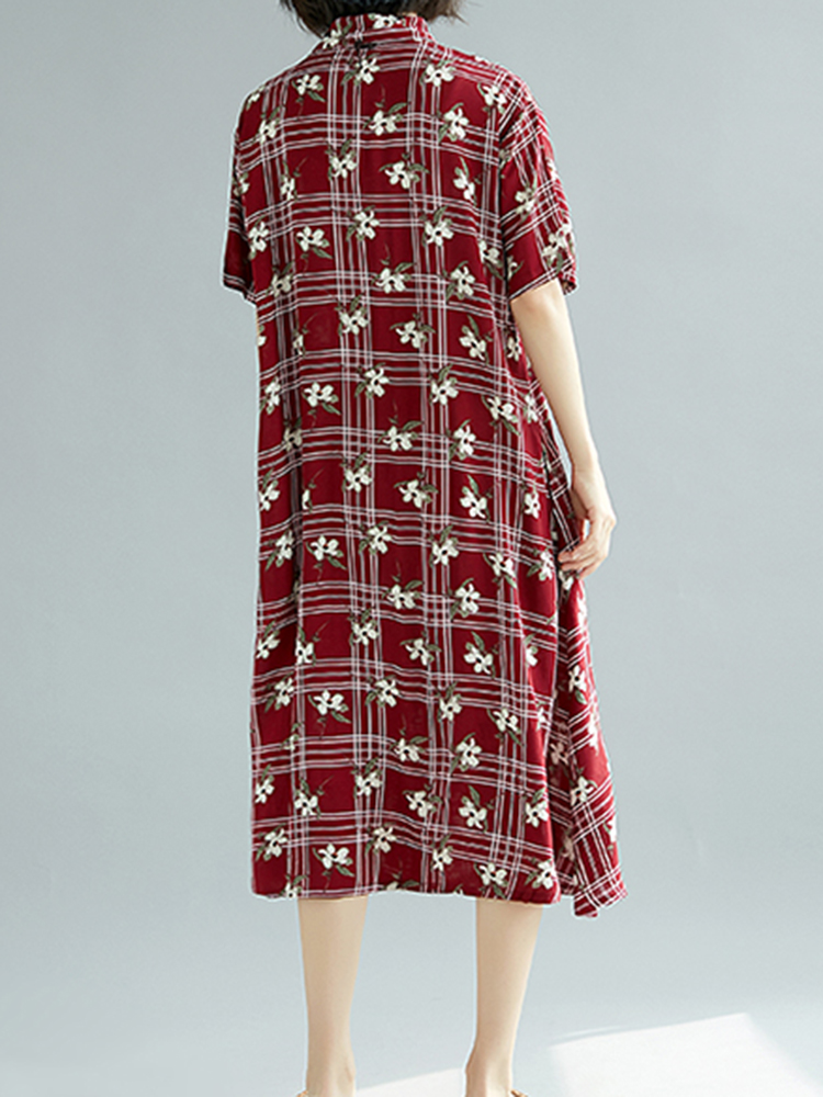 Cotton Floral Print Short Sleeve Plaid Shirt Dress