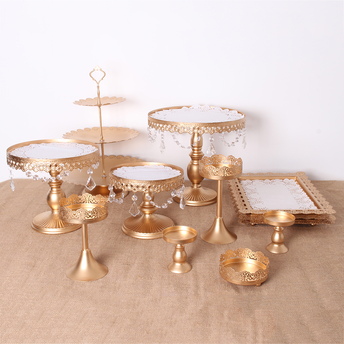 12PCS Vintage Crystal Cake Holder Cupcake Revolving Cake Stand Dessert Platter Display Party