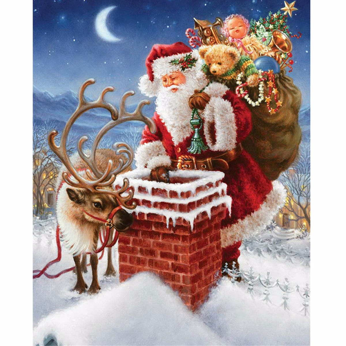 40x30CM 5D Diamond Painting DIY Santa Father Xmas Cross Stitch Embroidery