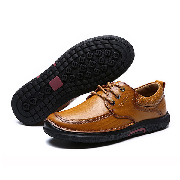 Men Casual Comfy Soft Sole Genuine Leather Lace Up Oxfords Shoes