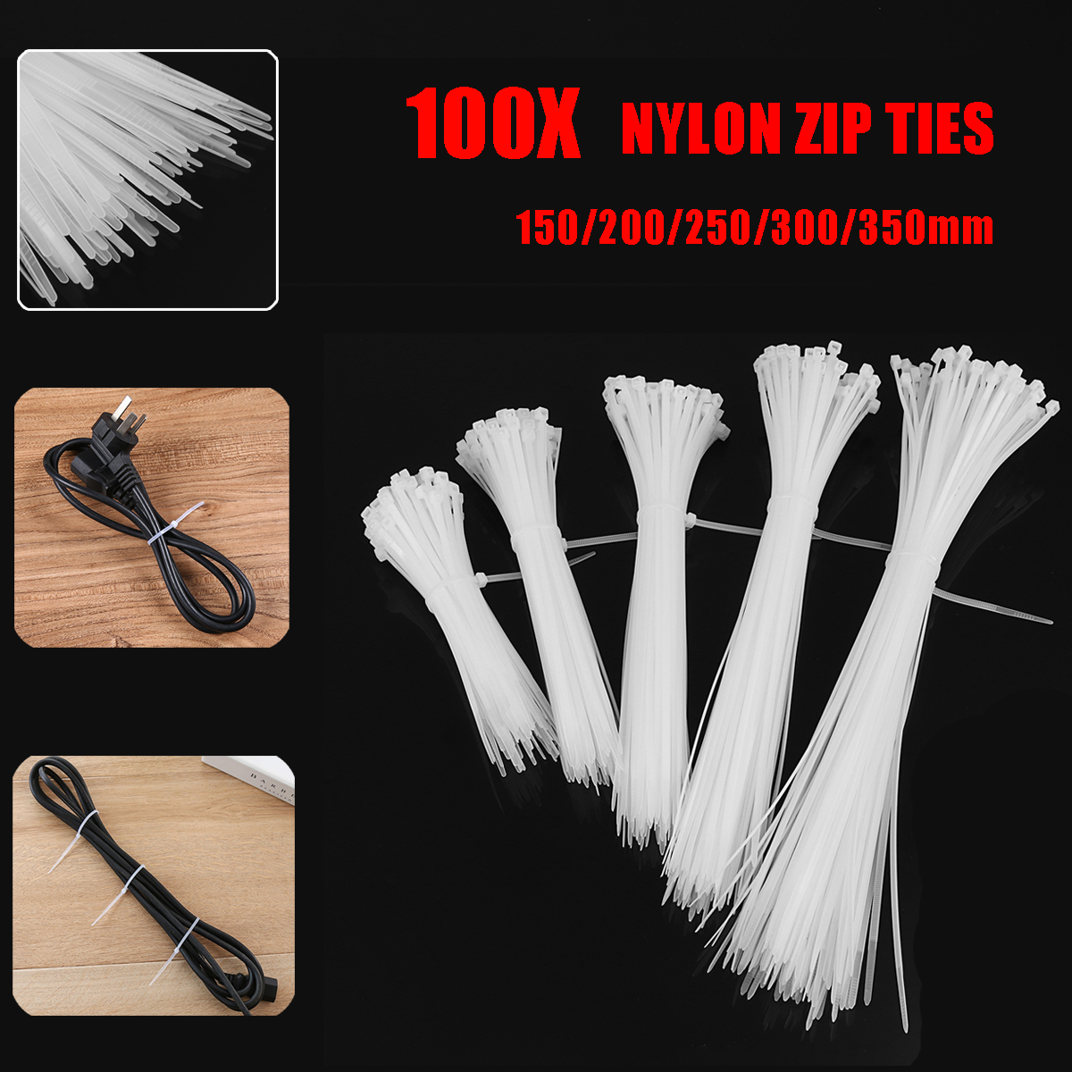 100 Pcs White Nylon Cable Zip Ties Nylon Cable Ties Wraps Zip Tie