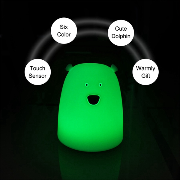 Colorful Cute Big Bear Silicone LED Night Light USB Rechargeable Touch Sensor Bedside Kid Lamp