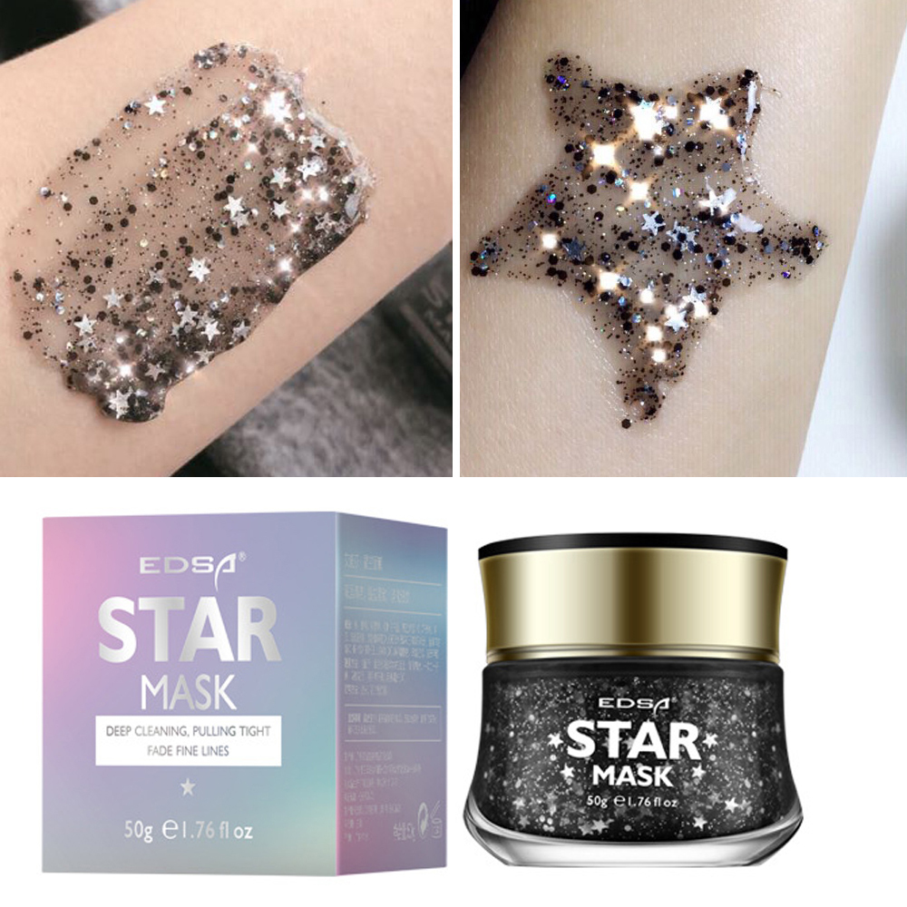 EDSA Black Glitter Star Mask Facial Mask Firming Treatment