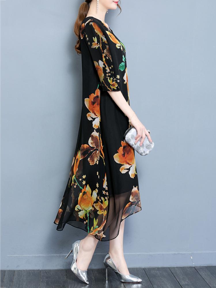 Plus Size Elegant Women Printed V-Neck Chiffon Dress