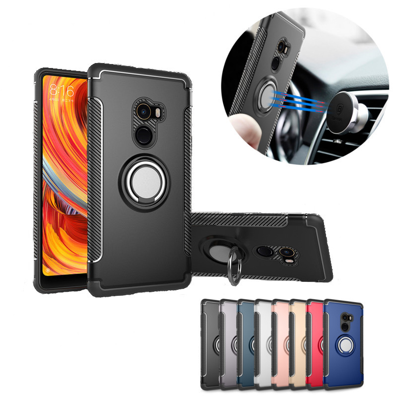 Bakeey Armor Shockproof Magnetic 360° Rotation Ring Holder TPU+PC Back Case For Xiaomi Mi Mix 2