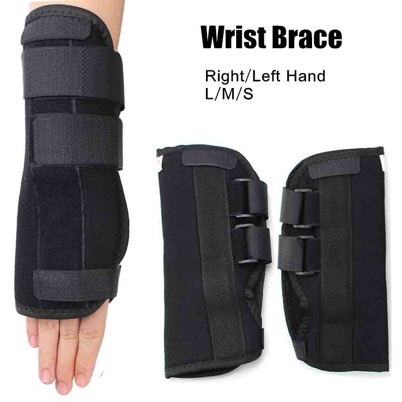 Steel Plate Wrist Brace Support Sprain Forearm Splint Band Strap Black