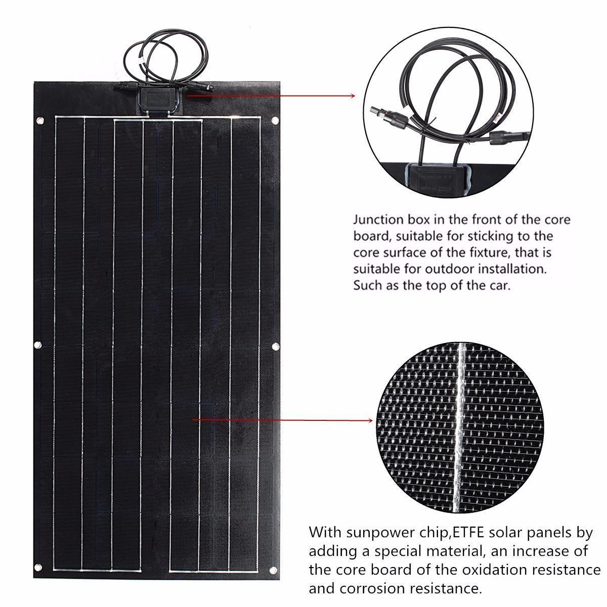 80W 12V 1020x530x2.5mm ETFT Flexible Light Solar Panel With Sun Power Chip Junction Box