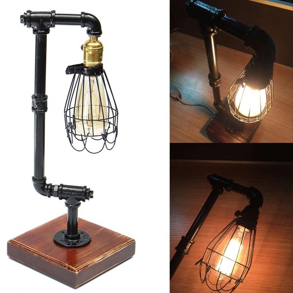 40W Vintage Industrial Style Iron Pipe Edison Bulb Desk Light Table Light Home Decor AC220-240V