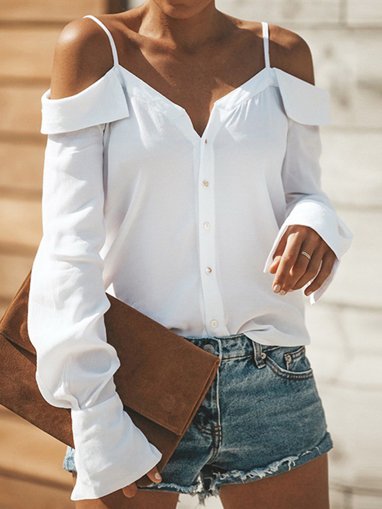 Women Off Shoulder Buttons Backless Straps Casual Blouse