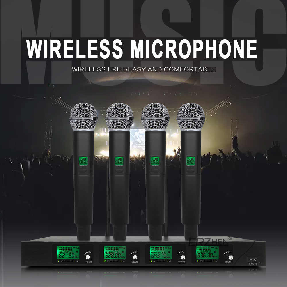ERZhen Professional 4 Channel Wireless Microphone System 4 Handheld Mic with Digital Display