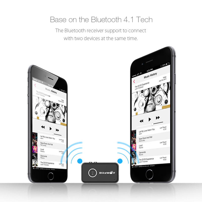 BlitzWolf® BW-BR1 bluetooth V4.1 Car Hands Free Music Receiver 3.5mm AUX Audio Adapter