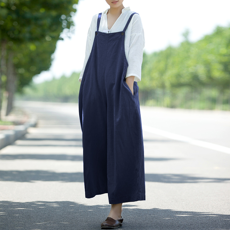 Women Sleeveless Strappy Pockets Cotton Wide Leg Jumpsuit