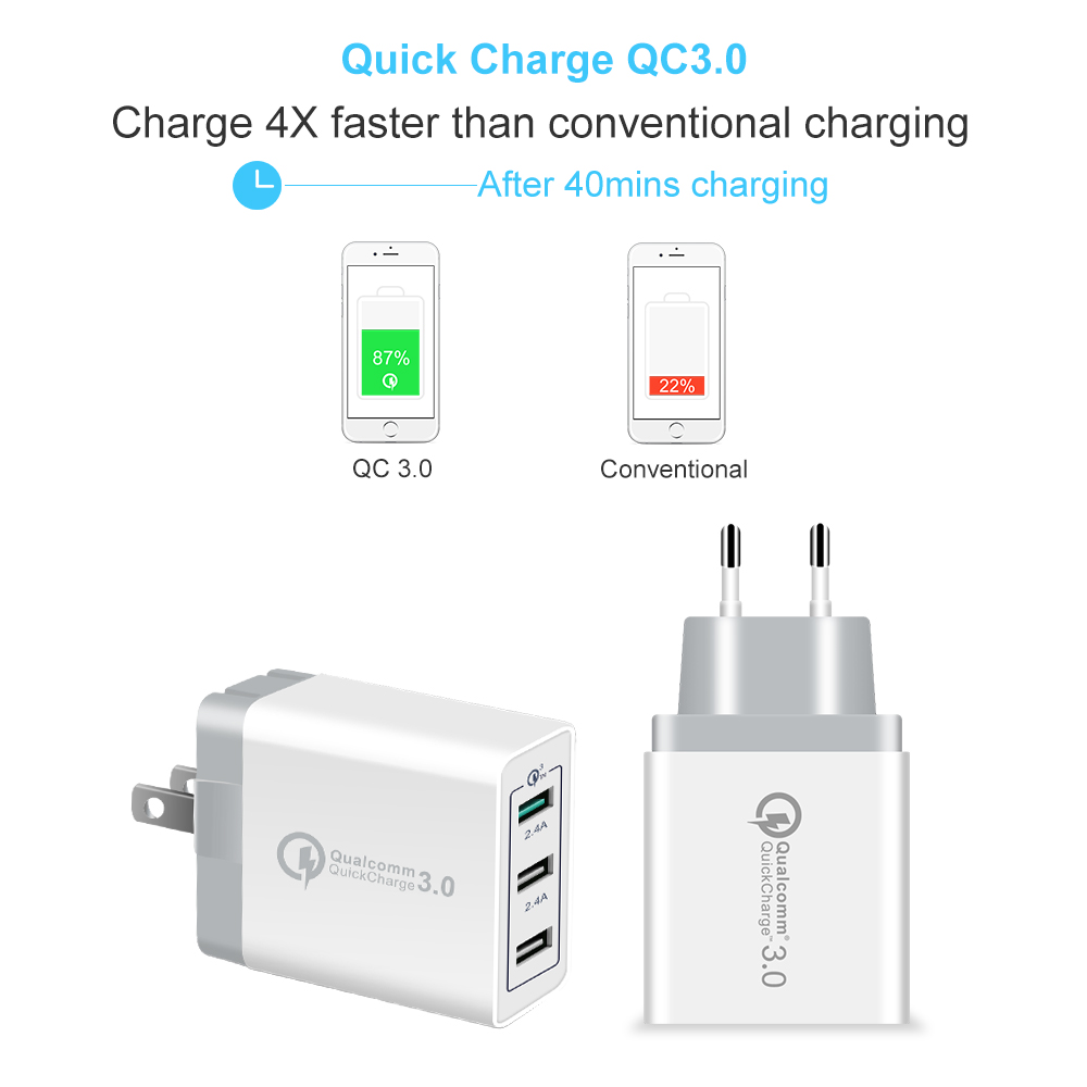 AiNaU 3 USB Ports 3A QC3.0 US Wall Travel Charger For iphoneX 8/8Plus Samsung S8 Letv Xiaomi6 mi5 mi