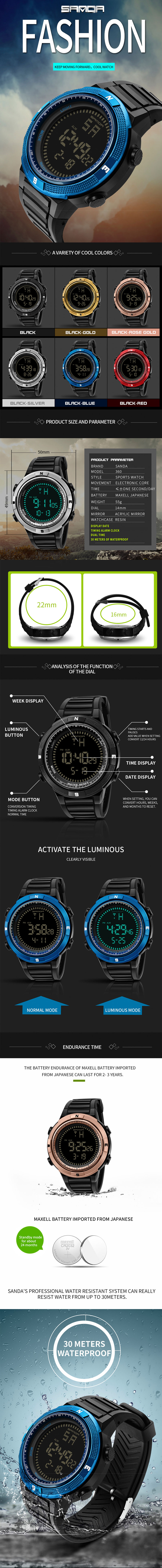 SANDA 360 Fashion Silicone Luminous Display Digital Watch