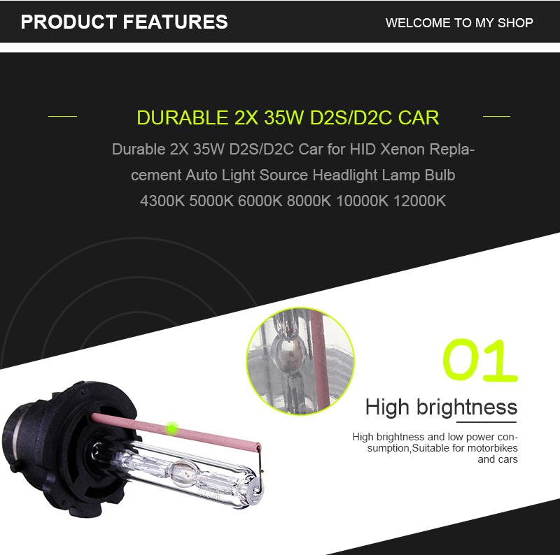 2 X 35W D2S Car HID White Xenon Headlight Light Lamp Bulbs