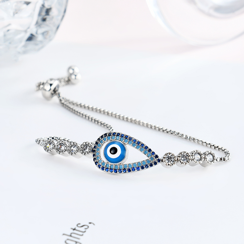 Platinum Gold Plated Evil Eye Zircon Bracelet Adjustable Unique Jewelry for Women