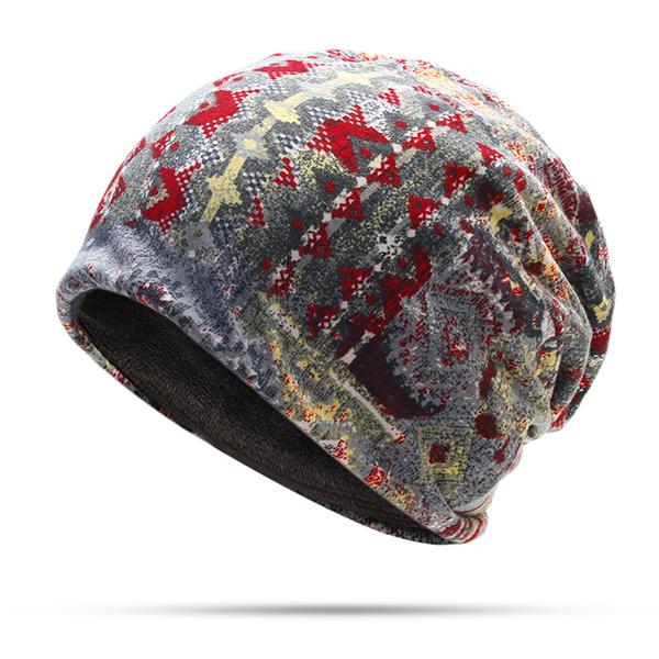 Unisex Winter Exotic Doodle Flower Printed Velvet Beanie Hat
