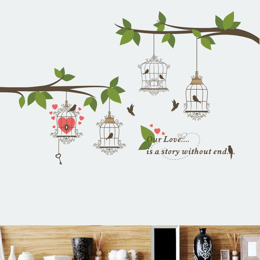 Branch Bird Cage Lover Romantic Marriage Room Background Sticker