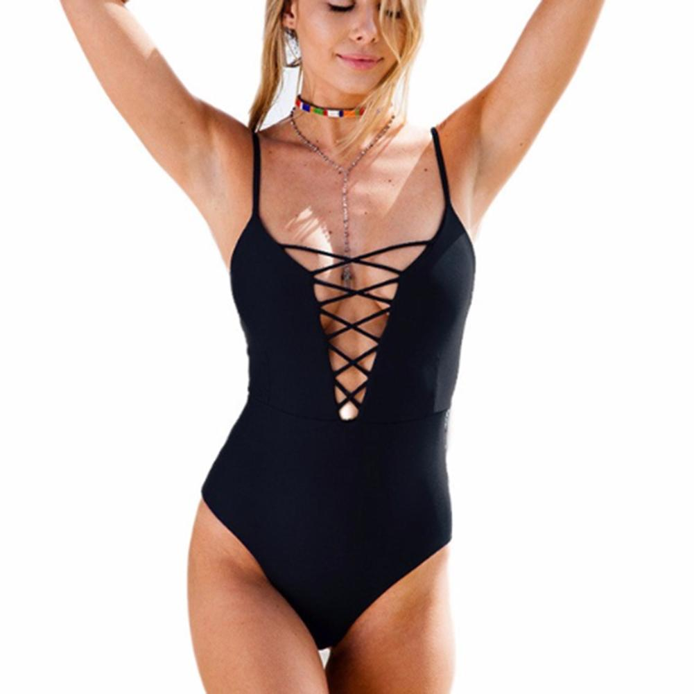 One Piece Swimsuit Nylon Summer Beach Solid Color Low-necked Belt Sexy Swimwear Women Body