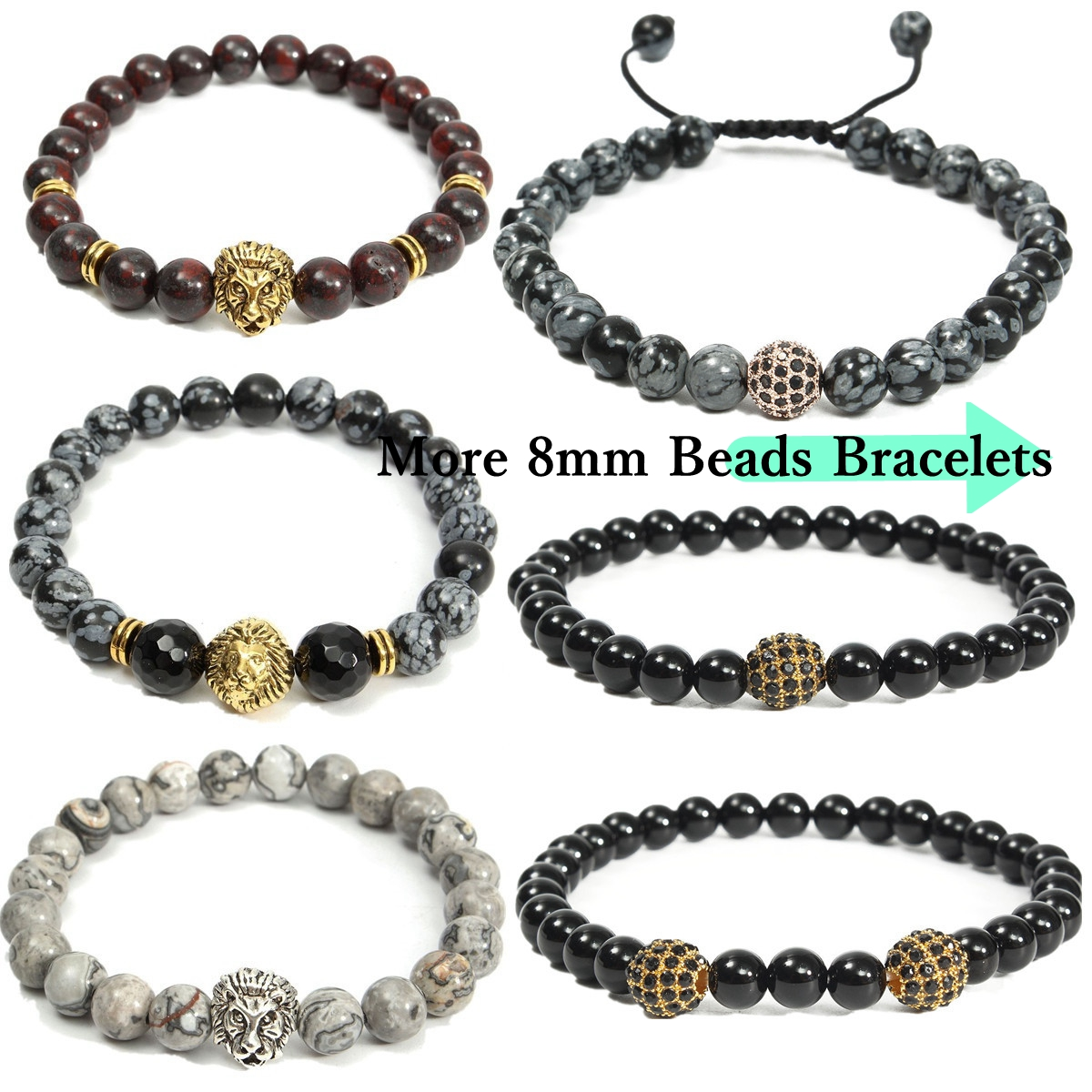 8mm Stretch Men Bracelet Natural Spot Stone Beads Bangle Chain