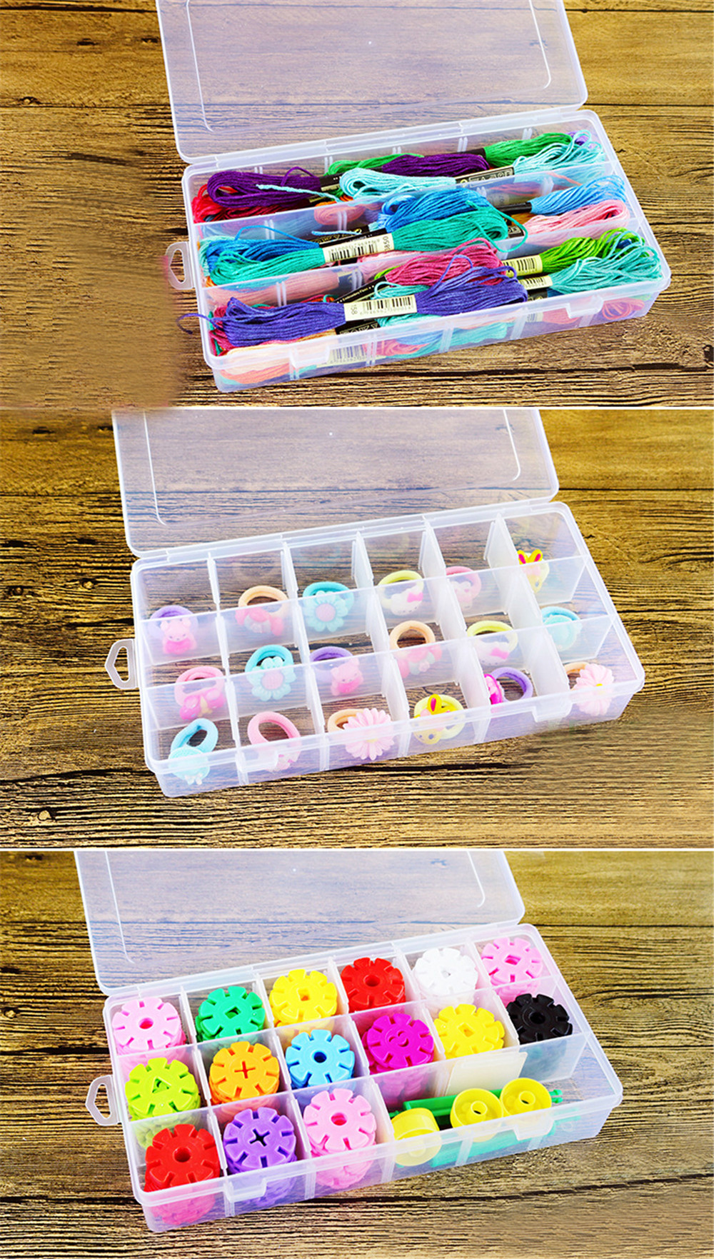 Plastic Jewelry Box Organizer Storage Container DIY Crafts Parts Compartment Divider Clear Slot Box